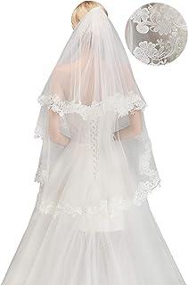 2019 女士时尚蕾丝白色新娘婚礼头纱带蕾丝边