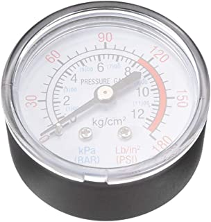 ZLYY 空气压缩机部件 压力计 1/4BSP 外螺纹后安装 0-180 PSI(0-12 巴,大)