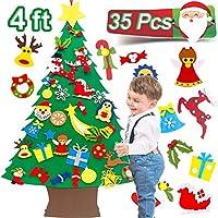 3.8 英尺毛毡圣诞树儿童DIY 圣诞树 34 件装饰品 手工圣诞窗 壁挂装饰 教育玩具 圣诞派对礼物 适合幼儿的节日圣诞礼物
