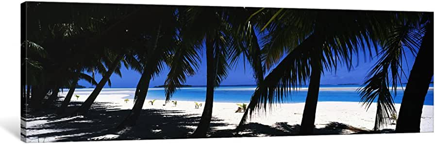iCanvasART PIM10697-1PC6 Palm Trees on The Beach, Aitutaki, Cook Islands Canvas Print by Panoramic Images, 1.5 by 48 by 16-Inch