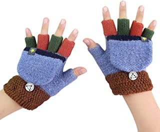 儿童幼儿魔术冬季羊毛针织连指翻盖无指手套