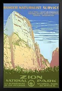 Zion 国家公园复古旅行海报 30.48 x 45.72 厘米 裱框海报 14x20 inches 339674