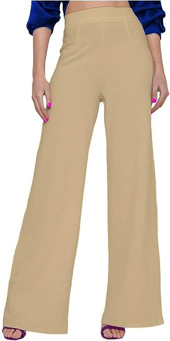 Papaval 女式 Palazzo 素色喇叭阔腿宽松长裤加大码