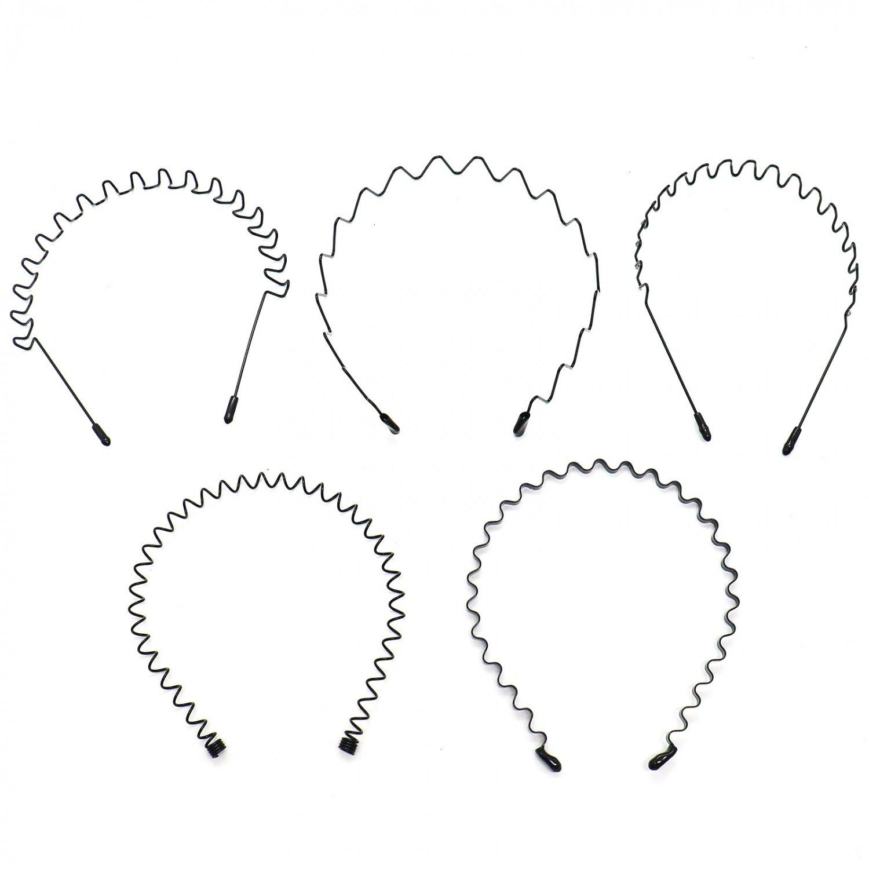 Buorsa 5  -  1 5つの春波状金属ヘアバンドの女の子のヘッドバンドリングの男性のアクセサリー