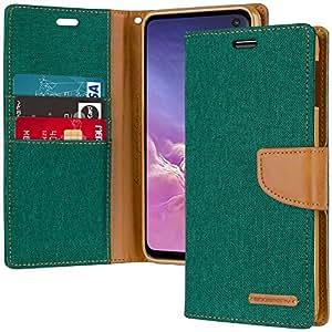 Galaxy S10e 钱包手机壳,Goospery 帆布日记【牛仔材料】支架翻盖手机套带卡片夹和磁扣封口 *