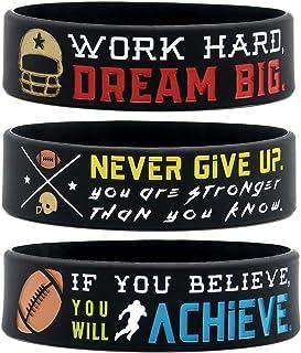 (6 件装)励志橄榄球腕带 带运动格言 - 足球礼品首饰配饰 适合足球运动员队*派对 - 男女皆宜,适合男士、女士、青少年、女孩、男孩