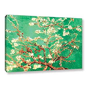 ArtWall Vincent Vangogh's Almond Blossom Interpretation in Emerald Green Gallery Wrapped Canvas Artwork, 24 by 36-Inch