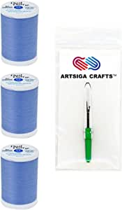 Coats & Clark Dual Duty XP General Purpose Poly Thread 250 Yds (3-Pack) Hyacinth with 1 Artsiga Crafts Seam Ripper S910-4040-3P