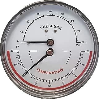 精确修剪器,1.27cm NPT 连接,7.62cm 表盘,40-200°F / 0-80 PSI,止回阀,压力温度计