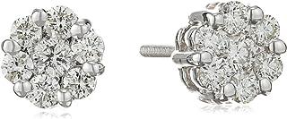 [Amazon Collection] Amazon Collection 14K金 白金 钻石 螺柱耳钉花朵图案 (0.5ct I-J颜色、SI2-I1透明度) FD924-050-IJ