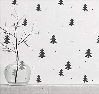 松林和雪地墙绘模板