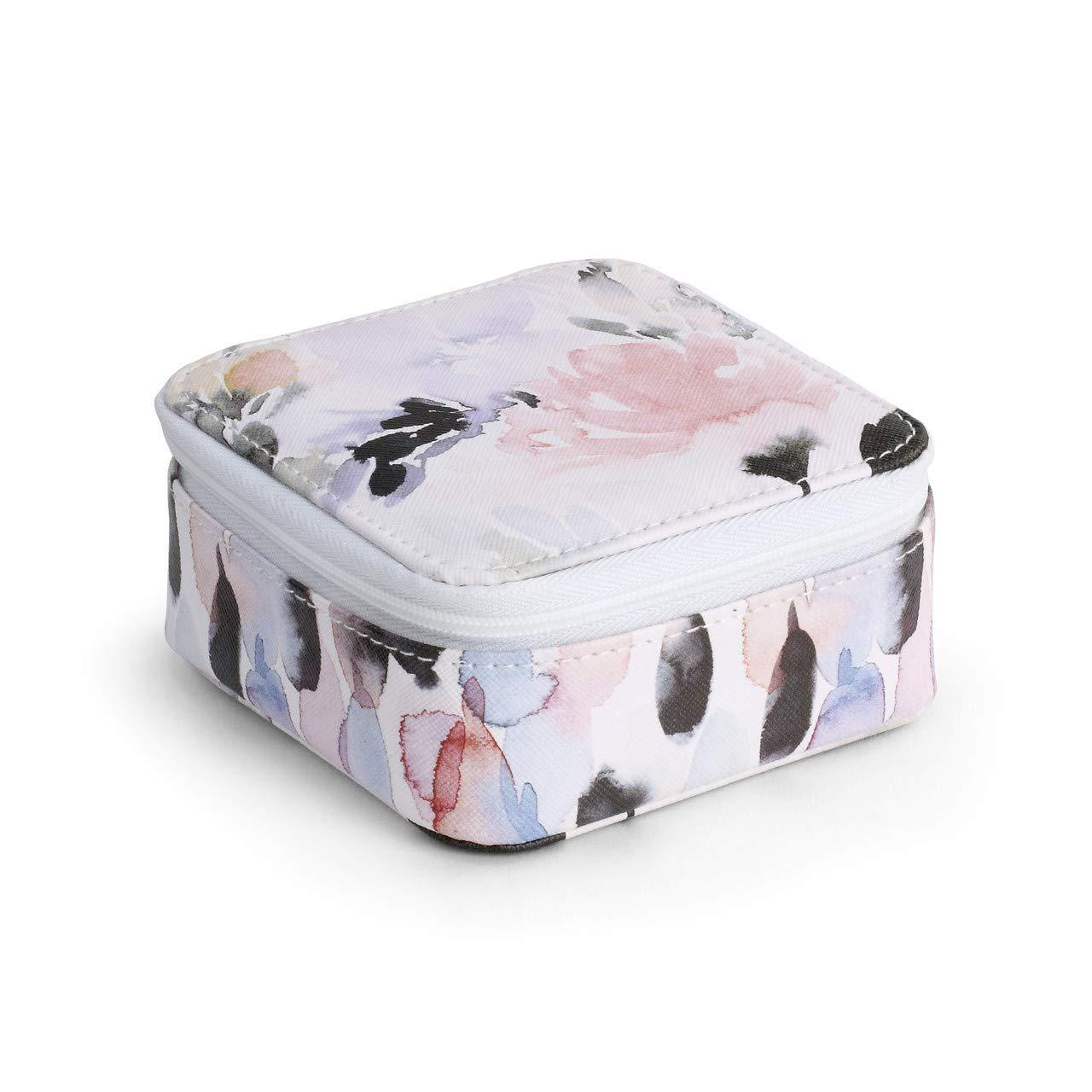 DEMDACO 花卉图案水彩粉色 4 x 4 人造皮革尼龙首饰盒