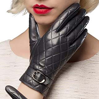 EL LEGANT 真皮手套女士触摸屏冬季羊皮手套温暖天鹅绒内衬