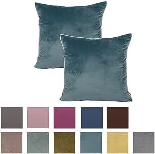 Queenie - 2 件纯色绳绒白色嵌边装饰枕套抱枕套有不同的颜色和尺寸 水绿色 25.5 x 25.5 Inch (65 x 65 Cm)