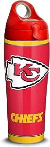 Tervis 1325218 NFL 堪萨斯城酋长队 - Touchdown 绝缘玻璃杯带包装和红色旅行盖,16 盎司 - 共聚酯,透明 银色 24 oz Water Bottle - Stainless Steel 1324219