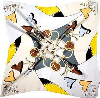 黄色灰色心形抽象印花厚丝绸方形围巾