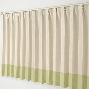 ナチュラル遮光カーテン Aフック 18.ベージュ×黄緑ボトム 幅300×丈145cm 1枚