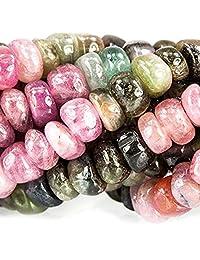 *品质天然西瓜碧玺宝石组合珠环形散珠3.75英寸 # gy1r1