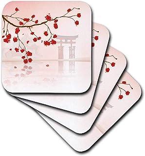 3dRose CST_116168_3 美丽的日本樱花色色拼接水面矢量设计陶瓷瓷砖杯垫(4 件套)