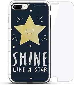 豪华设计师,3D 印花,时尚,气袋垫,360 玻璃保护膜套装手机壳 iPhone 8/7 Plus - 透明LUX-I8PLAIR360-STARRYNIGHT2 SHINE LIKE A STAR 透明