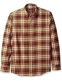 ARROW 男式長袖格子法蘭絨襯衫 Oyster Grey Heather Large
