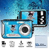 eCostConnection 2400 万像素防水双屏全高清 1080P 数码相机适用于水下照片和视频自拍 带 LED 闪光灯(蓝色)+ 超细纤维布