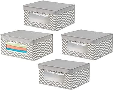 mDesign 柔软可堆叠面料衣柜储物架带透明窗,附铰链盖子 - 适用于卧室、走廊、浴室 - 雪佛龙图案 - 中号,4 件 - 灰褐色/自然色