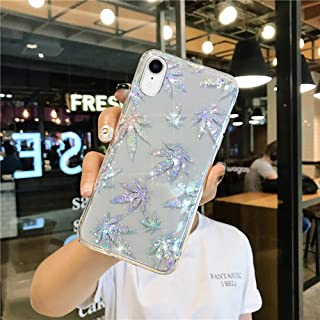 iPhone XR 闪光女士女孩闪光闪光激光闪光枫树叶设计,纤薄贴合防刮防震 TPU 减震弹性橡胶硅胶手机壳适用于 iPhone XR iPhone XR