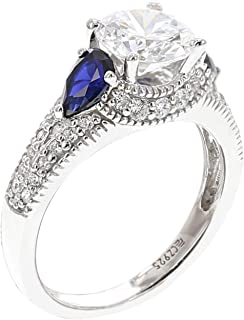 Amazon Collection 镀铑纹银 蓝宝石和透明立方氧化锆戒指 尺寸14号