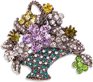 Solememo 优雅复古调奥地利水晶多色花篮胸针针婚礼派对礼物
