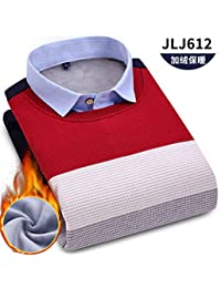 唐岚 新款男士长袖加绒加厚保暖衬衫假两件鸡心领套头衫针织衫