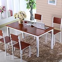 YSH 悦森活 时尚餐桌套装餐桌椅组合长方形餐桌餐台一桌四椅四人餐桌多用途桌子 白色架子配柚木色板材单张桌子 120*60*75cm(长/宽/高cm)