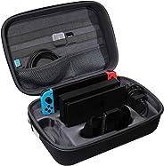TUDIA 硬质旅行 EVA 减震便携收纳盒,兼容任天堂开关,游戏携带箱,适用于Switch Pro 控制器,交换机控制台和配件,黑色
