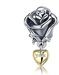 EVESCITY 银色 Love You Heart 玫瑰串珠纯银饰品适合潘多拉和类似手链
