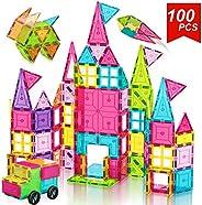 Landtaix 兒童磁鐵瓷磚玩具 100 件超大 3D 磁性積木套裝,勵志教育玩具 適合 3 4 5 6 歲男孩女孩禮物