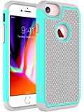 iPhone 7手机壳, oeago iphone 7skin [ 防摔 ] [ 防震 ] 混合双层橡胶塑料冲击 defender 结实纤薄硬质保护套外壳 薄荷色