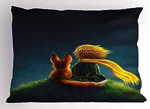 "Ambesonne 猪枕头,猪 Avatar 儿童 -Friendly Clip 艺术风格 趣味图标插图设计印花,装饰性标准大号双人床尺寸印花枕套,浅粉色 Multi 30 26"" W By 20"" L pil_27987_26x20"