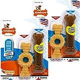 Nylabone Dura 咀嚼环骨头和小狗咀嚼骨两件装狗狗玩具 2组