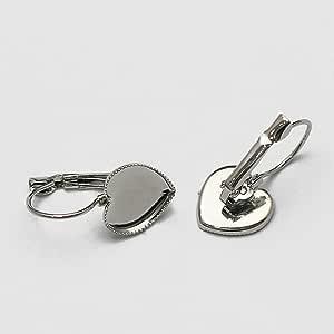黄铜杠杆背耳环镶嵌心形凸圆形 12 毫米热耳环 手工铜珠宝组件耳环底座 12mm