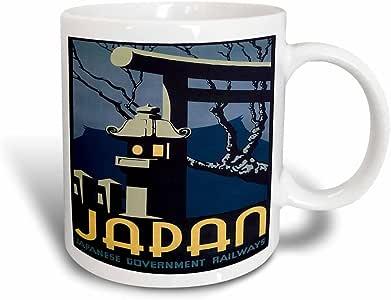 3drose BLN 复古旅行海报和行李标签–日本,日本* railways 与日本灯笼–马克杯 黑色/白色 11 oz