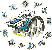 Jigamix *太阳能机器人搭建套装 - 搭建 13 种不同的机器人车辆 - DIY 太阳能机器人适用于儿童、成年人和所有科学爱好者 - 教育性科学 STEM 玩具,男孩和女孩