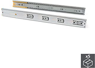 Emuca – 抽屉侧导轨 带滚珠轴承 45 毫米 x 650 毫米,包装带5个导轨,配有完整的吸尘和减震功能