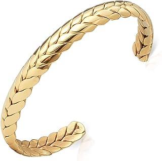 Lolalet 宽开口袖口手链,18K 镀金小麦风格情侣爱手链编织编织扭转袖口手镯男士女士珠宝礼物 - 金色