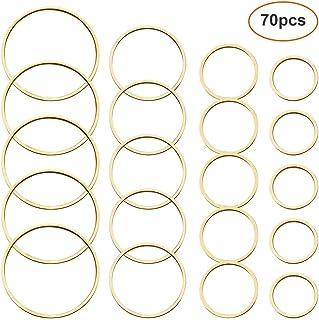 70 件耳环串珠耳环寻找圆形耳环圆环吊坠圆形串珠环开放式边框吊坠框架用于珠宝制作