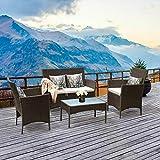Dawndior Furniture 4 件套庭院藤条柳条椅子沙发桌套装户外花园,棕色