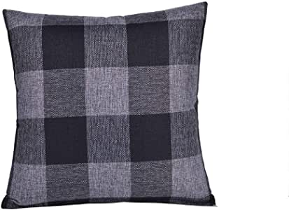 HAOXIANG 棉麻抱枕套经典格纹枕套,适用于沙发卧室汽车 45.72 x 45.72 厘米,2 件套 黑色/灰色