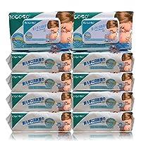 (10包1000抽免运费) BOCOSO 邦可士新生婴幼儿湿巾带盖5联包/10联包装(100抽/包) 儿童宝宝婴儿手口湿纸巾防红屁屁 (10包装)
