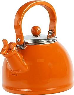 calypso BASICS 夸脱 enamel-on-steel teakettle 天蓝色 橙色 2.2-Qt.