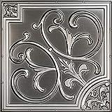 从简单到美丽的时光 204bk-24x24-25 百合和漩涡 天花板砖,黑色,25 古银色 204-25as