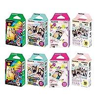 FUJIFILM instax mini 8包套装彩虹彩绘玻璃糖果 POP 闪亮星星单包10张 X 8包 = 80张